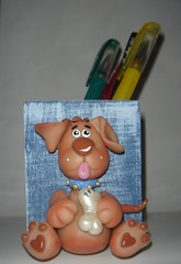 Porta Lpis Dog (PattyBiscuit) Tags: dog biscuit portalpis cachorrinho porcelanafria estilocountry