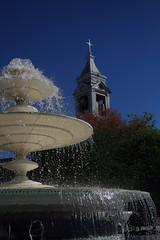 """""""Água pra encher... (Fabiana Velôso) Tags: cidade azul céu igreja praça fonte árvores santarita paraíba fabianavelôso bemflickrbembrasil"""