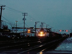 Westbound Metra evening commuter local. Elmwood Park Illinois. December 2006.