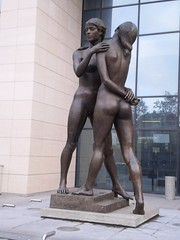 Sculpture Female Nudes Embracing 12 - Finance Tower Brussels