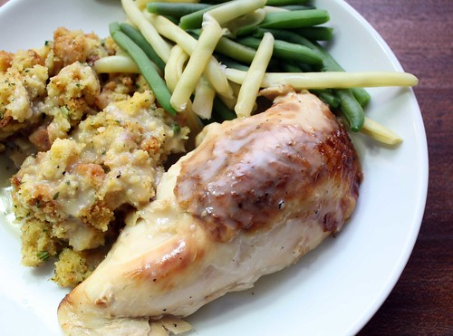 Rotisserie Chicken, Cornbread Stuffing and Green Beans