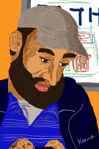 Man on PATH (iPhone drawing)