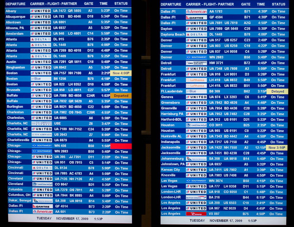 Departure And Arrival Board At Dulles Airport
