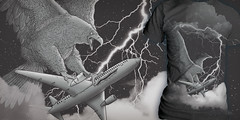 Fasten your seatbelts (alvarejo®) Tags: 2 colors illustration night plane noche design eagle attack tshirt lightning threadless tee diseño camiseta ataque avion ilustracion remera polera lightstorm alvarejo 2colores eagleattacking