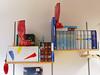 Shelf ends? (mikeasaurus) Tags: blue red rot yellow digital buch munich münchen fun lumix with books bookshelf polka panasonic gelb blau dots gummistiefel gumboots bücher stiefel lx3