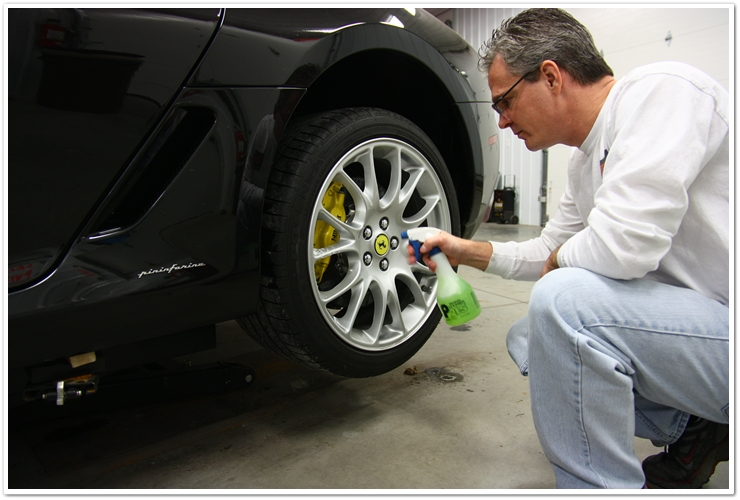 Spraying P21S Wheel Gel on Dirty Ferrari 599 GTB wheels