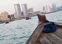 contrasts (jrodmanjr) Tags: new old city travel blue skyline creek boat dubai desert united uae rope emirates arab abra unitedarabemirates rolex