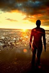 Blinded By The Light (Tony Shertila) Tags: light sunset england sky sculpture beach weather statue night liverpool golden lyrics europe cloudy britain crosby antonygormley irishsea anotherplace manfredmannsearthband yahooweather platinumheartaward