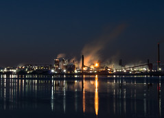 Beauty or the Beast (JohnK ARW) Tags: sonynex7 zeiss variosonnartdt35451680 hamilton bluehour water reflections lights longexposure fire harbour thehammer steelfactory steam smoke