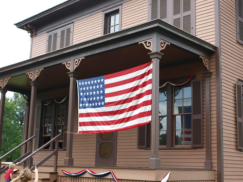 Kelley Farm flag on house