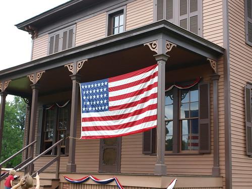 Kelley Farm flag on house