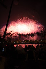 Ala Moana Fireworks (kentnish) Tags: beach hawaii 4th july honolulu afs park moana 1735mm july nikon hawaii kent 4th nikkor f28 fireworks 2009 d300 ala fireworks honolulu nishimura