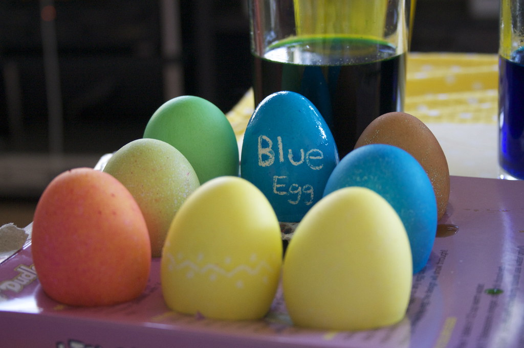 Decorating some eggs for easter