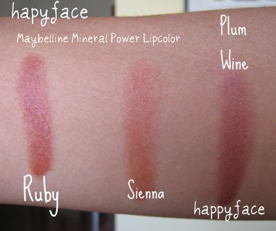 maybelline mineral lip swatches