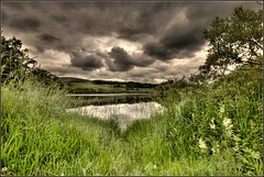 Threipmuir Reservoir - Edinburgh (Devilineden) Tags: grass clouds canon reeds eos boat shadows scenic reservoir hills elements dslr amateur hdr pentland photomatix d400 threipmuir