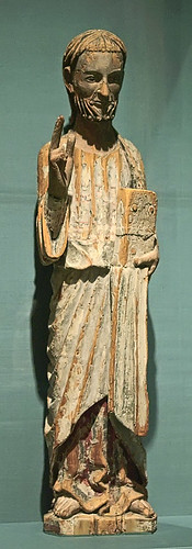 "Painted wood statue, ""Blessing Christ"", Spanish, late 13th or early 14th century, at the Saint Louis Art Museum, in Saint Louis, Missouri, USA"