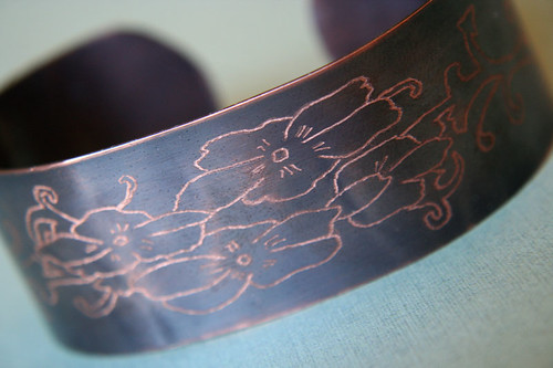 Women's TATTOO Designs Copper Bracelet - Flowers and Filigree