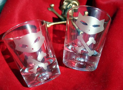 Skelekitty shot glasses by KIT CAMEO!