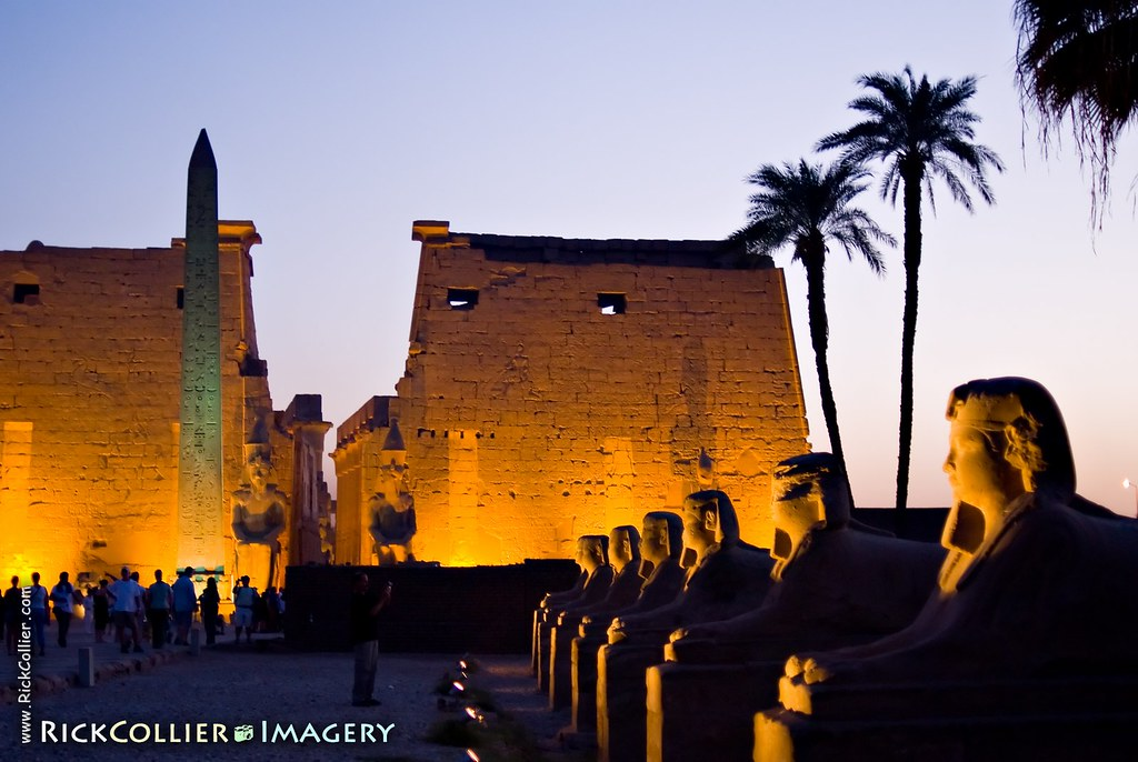 Luxor Temple (Egypt) at dusk:  In the evening lights illuminate rows of sphinxes lining the road that originally ran from Luxor to Karnak
