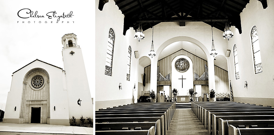 first united methodist church ventura wedding ceremony sepia