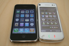 Nokia N97 and iPhone 3GS (William Hook) Tags: apple mobile nokia phone 3g smartphone wifi gps comparison tuaw  3gs iphone hsdpa n97 womworld