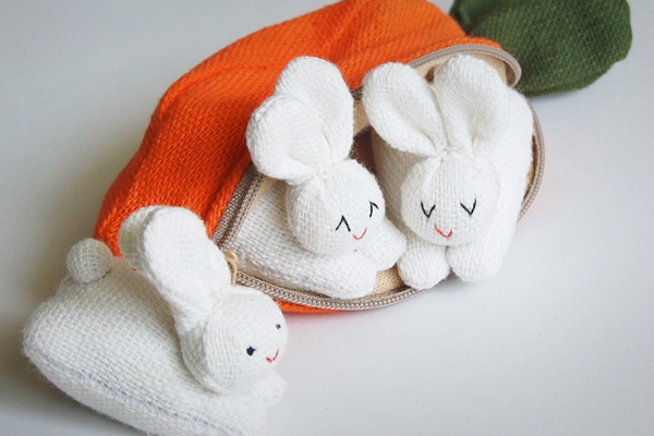 Carrot Purse with Rabbit Family ($26.50)