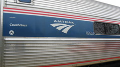 Amtrak Amfllet / Coachclass car up close. Glenview Illinois. April 2009.