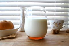 milk & honey (sevenworlds16) Tags: life morning light glass breakfast asian milk still warm wine sweet quote good honey pear winniethepooh anticipation comfort riedel wellhey itiscalled