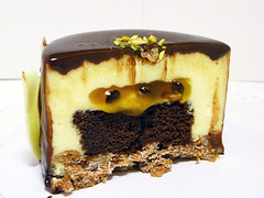 Exotic chocolate mousse Inside (Winnie~Le Petit Atelier) Tags: feuilletine mousse passionfruit chocolateglaze