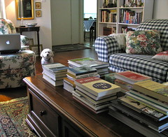 Coziness... From Another Angle (nbklx17 (Sandy)) Tags: pet design cozy interior books livingroom couch sofa poodle daisy decor bookshelves cottagestyle eclectic homedecor homesweethome comfy smallspaces homy myeverydaylife booklover stacksofbooks macbook hominess blueandwhitechecks smallhome blueandwhitehome traditionaldecor