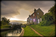 Stoke Lock (strussler) Tags: england canon eos canal zoom cottage sigma wideangle surrey lensflare 5d guildford navigation hdr waterway 1735mm riverwey 3xp photomatix tonemapped stokelock