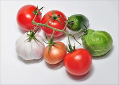 Five a day (Dimitar Nechev) Tags: light food vegetables soft tomatoes greens bunch garlic onion assortment brusselssprouts glued productphotography nonphotoshoped