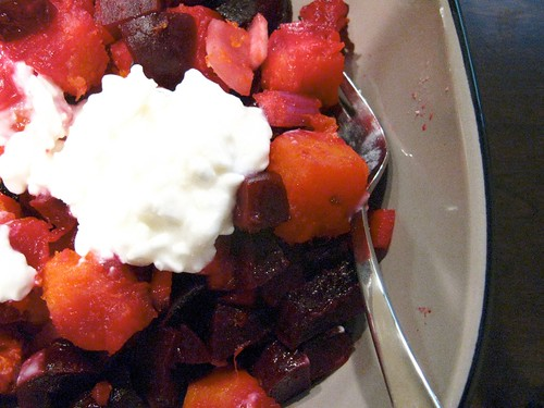 Snacktime in the Dietitian's Office - Warm Beet & Butternut Squash Salad