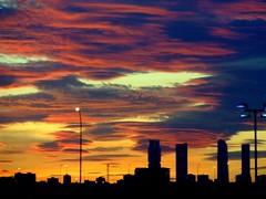 Madrid Skyline Sunset (Wurzel) Tags: madrid sunset airport spain towers skline aeroportodemadridbarajas thingsyoutakephotosofwhenboredwaitingforyourconnectingflight