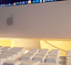 iMac (ears737) Tags: white macro apple computer logo lens macintosh keys dock mac keyboard imac kodak buttons os x g5 cables pro procrastination easy share applications 1058 z8612is 36432mm