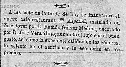 Noticia de la inauguración del café Español de Toledo en El dia de Toledo. 20-2-1909