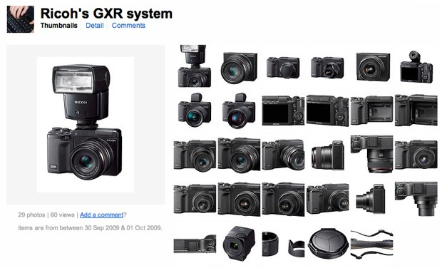 Excellent collection of official Ricoh GXR product photos at Eleven Eight's Flickr gallery