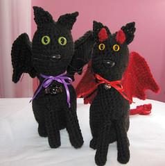 Bat-Cat and Devil-Cat (Luci-fur) plushies