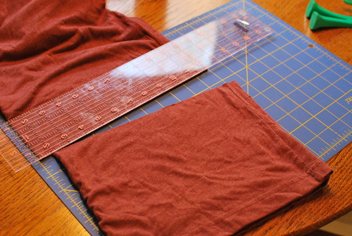 Cut the t-shirt using scissor or a rotary cutter