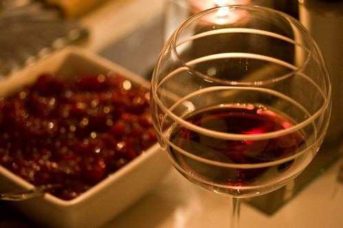 wine and cranberry sauce