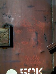Hello Darlin' (GT Camera (aka greenthumb)) Tags: railroad art sketch chalk streak trains boxcar crayon processed bca moniker hellodarlin paintstick boxcarart femalesketch