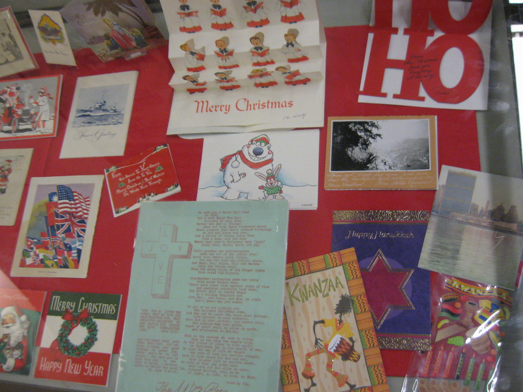 "Right-Hand Side of ""Seasons Greetings: Holiday Cards"" Exhibit Case"