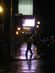 Walking (historygradguy (jobhunting)) Tags: street people reflection wet silhouette sign boston night ma marquee person lights pavement candid massachusetts newengland mass bostonist theaterdistrict