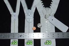 comparison of over-sized plastic zipper gauges = #10, #20 & #30