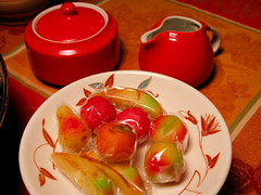 Marzipan Fruits (prima seadiva) Tags: christmas red stilllife holiday canon kitsch marzipan tablesetting g9 restaurantware