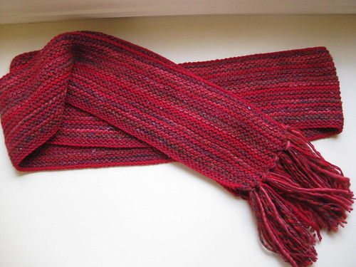 Side to side red scarf