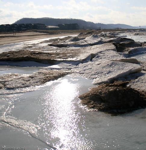 Frankfort MI shore in winter