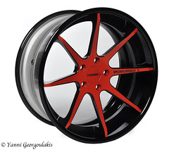 Forged 1 8 spoke red/black studio shot (Yankis) Tags: red black macro car wheel digital studio photography gold nikon inch shoot ranger photographer shot florida miami south wheels automotive 60mm rim rims product d3 rx 20s yanni elinchrom georgoulakis