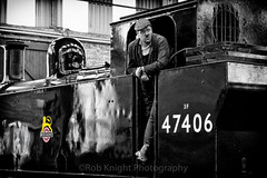 Fookin 'ell it's Fred Dibnah (ROB KNIGHT photography) Tags: monochrome train mono blackwhite industrial monochromatic steam driver selectivecolour robknight barrowhillroundhouse canoneos5dmkii axeman3uk robknightphotography canon24105mmefslseries