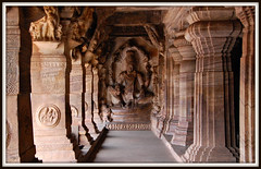 Lord Vishnu Sculpture.. (y'O'gs) Tags: india tourism beautiful architecture relax sketch interesting vishnu faith sketching artists huge preserved recline karnataka nagara badami cave3 dravidian vedic ananta shesh lordvishnu badamicaves caveno3